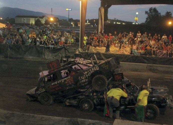 A crowd watches demolition derby action at the Shenandoah County Fair on Monday night.  Share your fair photos! Email them to news@nvdaily.com for consideration.  All photos must have captions identifying those in the photo as well as who took the photo. Courtesy photo by Ethel Showman